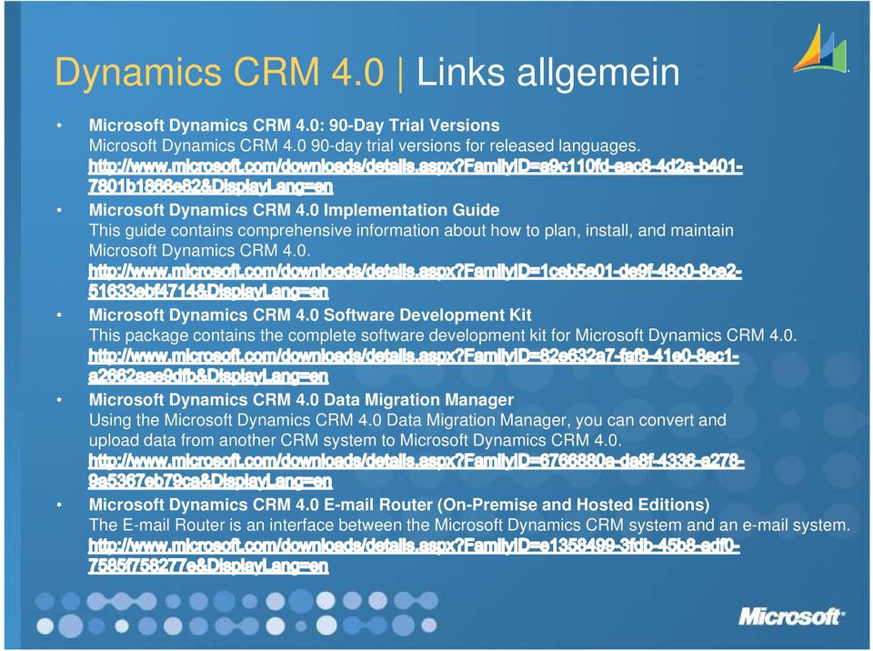 0. 0 Microsoft Dynamics CRM 4.0 Software Development Kit This package contains the complete software development kit for Microsoft Dynamics CRM 4.0. Microsoft Dynamics y CRM 4.