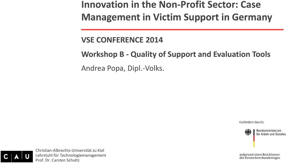 CONFERENCE 2014 Workshop B - Quality of