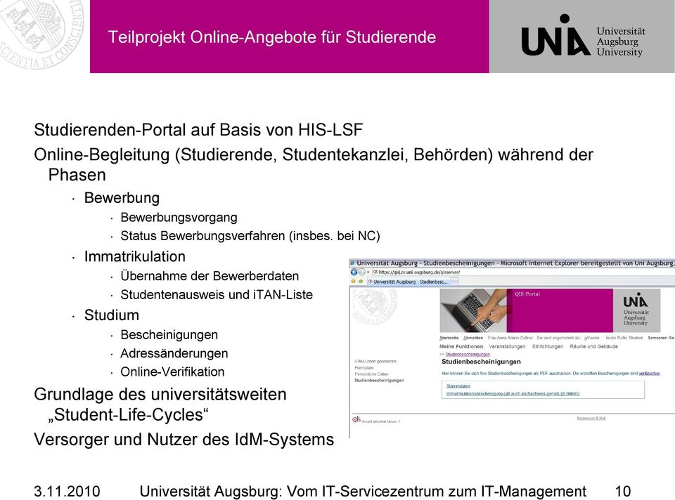 Vom its zum it management an der universit t augsburg dr for Management studium nc
