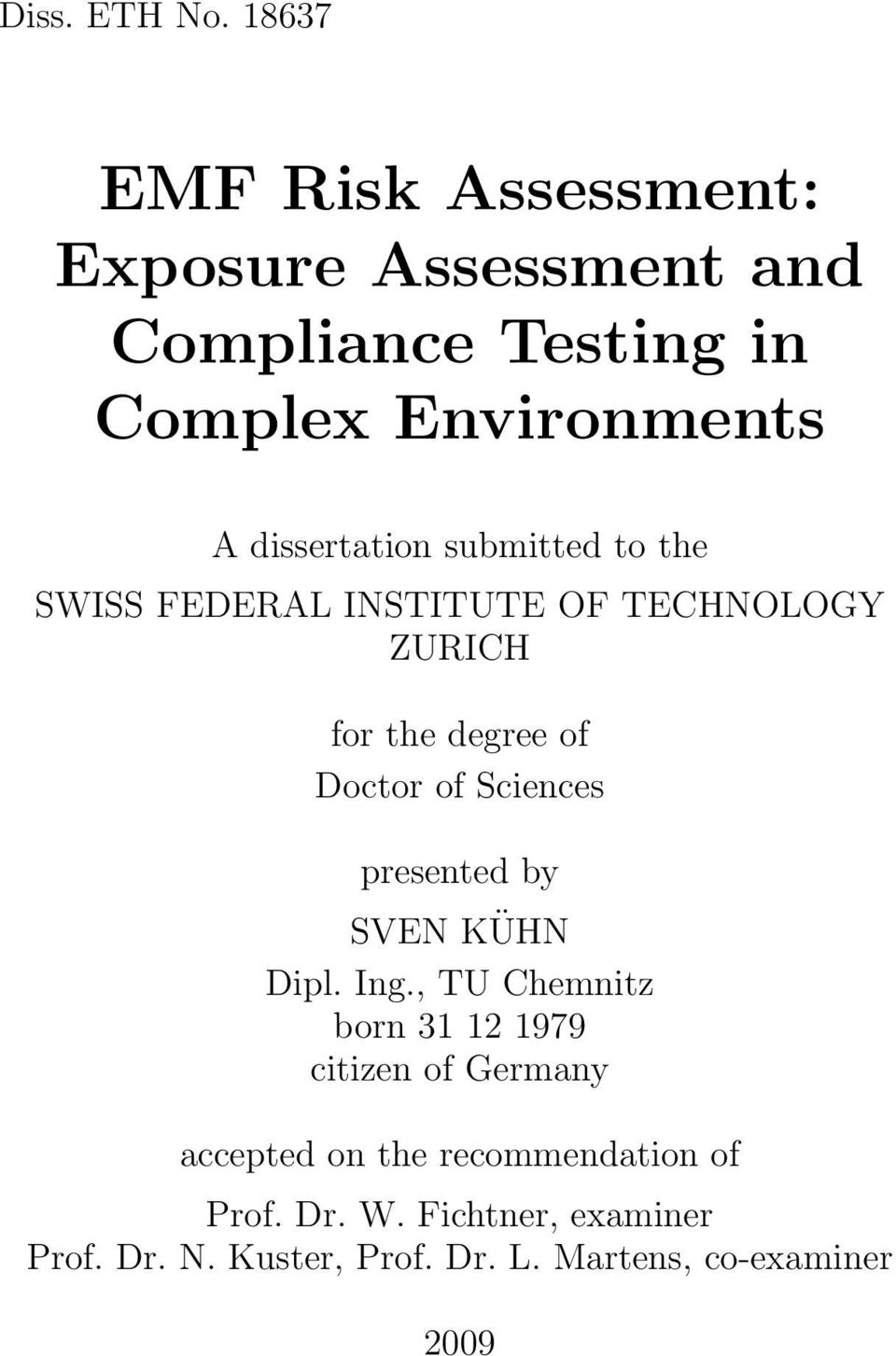 dissertation submitted to the SWISS FEDERAL INSTITUTE OF TECHNOLOGY ZURICH for the degree of Doctor of