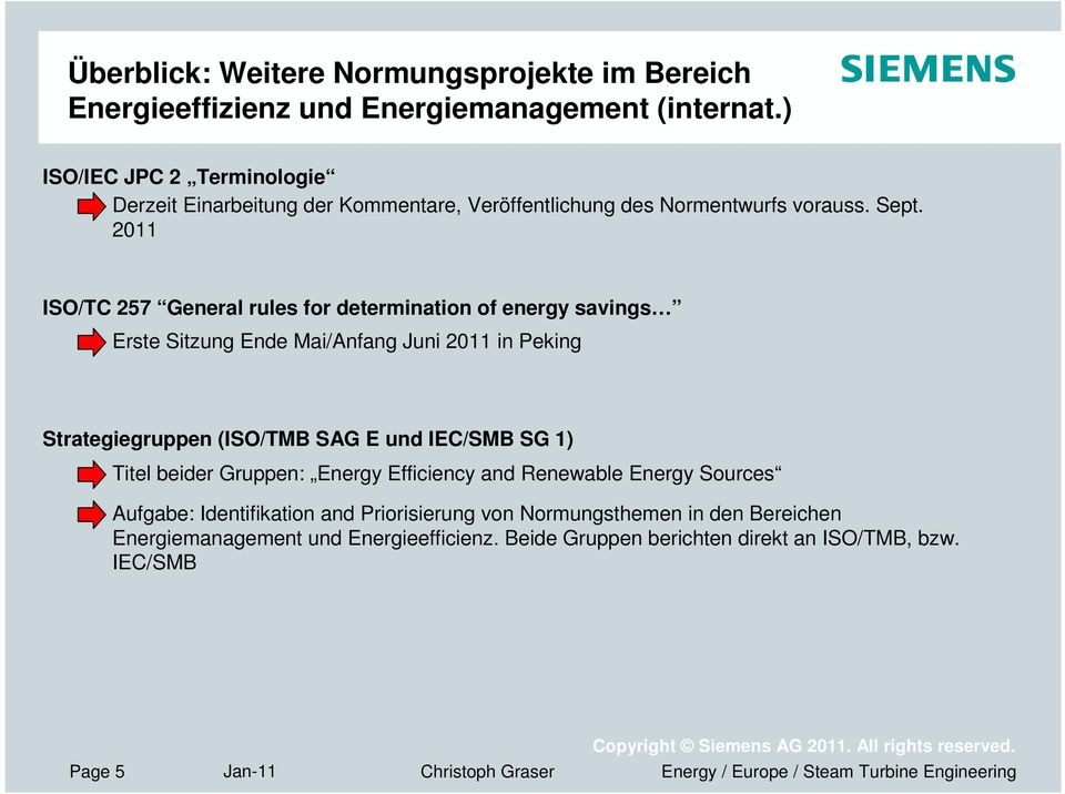 2011 ISO/TC 257 General rules for determination of energy savings Erste Sitzung Ende Mai/Anfang Juni 2011 in Peking Strategiegruppen (ISO/TMB SAG E und IEC/SMB SG