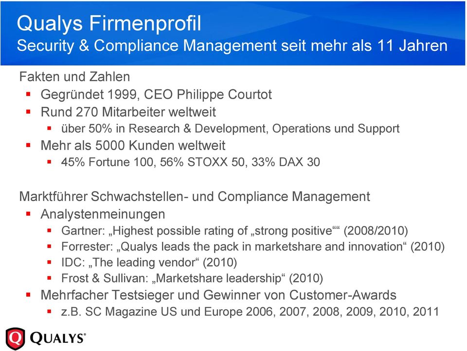 Analystenmeinungen Gartner: Highest possible rating of strong positive (2008/2010) Forrester: Qualys leads the pack in marketshare and innovation (2010) IDC: The leading