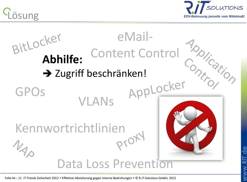VLANs Kennwortrichtlinien Data Loss Prevention Folie Nr.