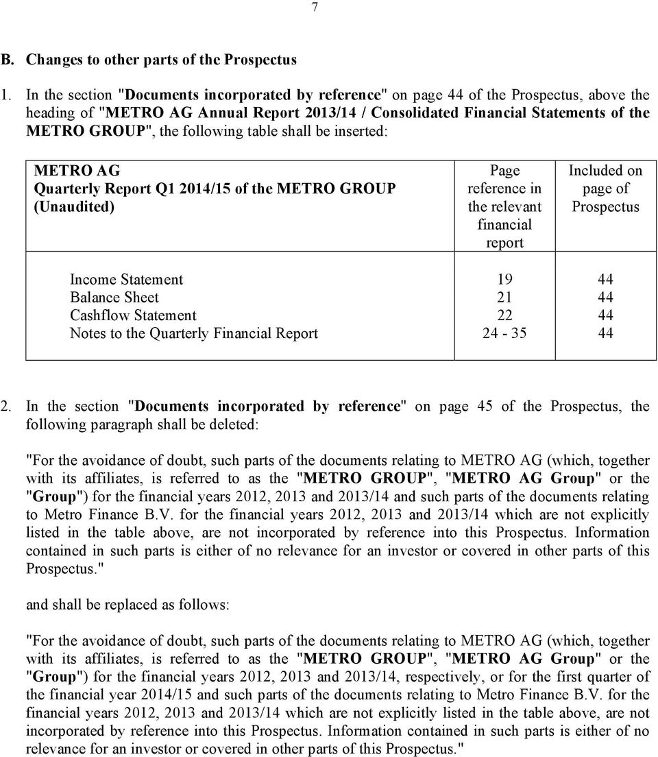following table shall be inserted: METRO AG Quarterly Report Q1 2014/15 of the METRO GROUP (Unaudited) Page reference in the relevant financial report Included on page of Prospectus Income Statement