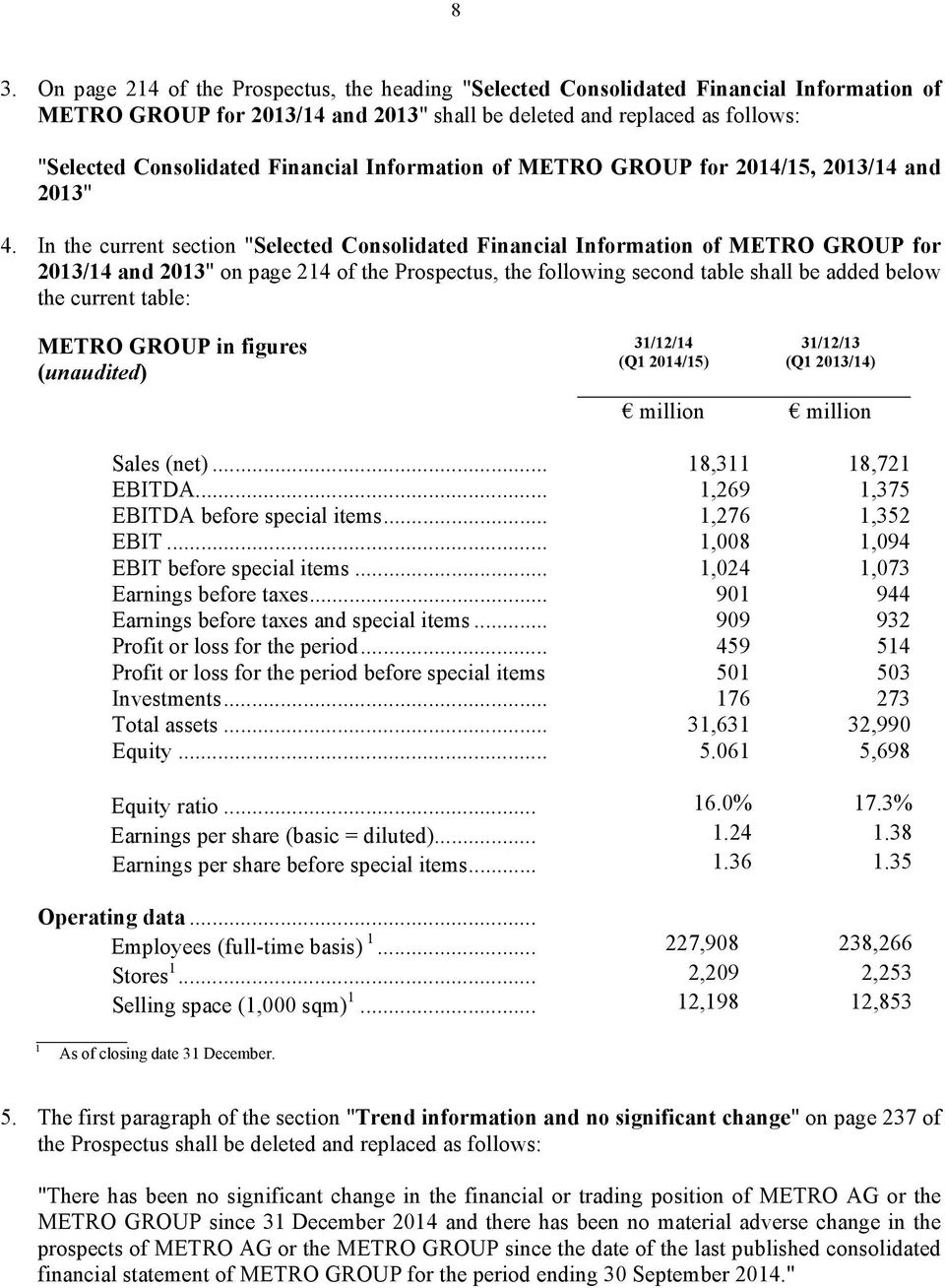 "In the current section ""Selected Consolidated Financial Information of METRO GROUP for 2013/14 and 2013"" on page 214 of the Prospectus, the following second table shall be added below the current"