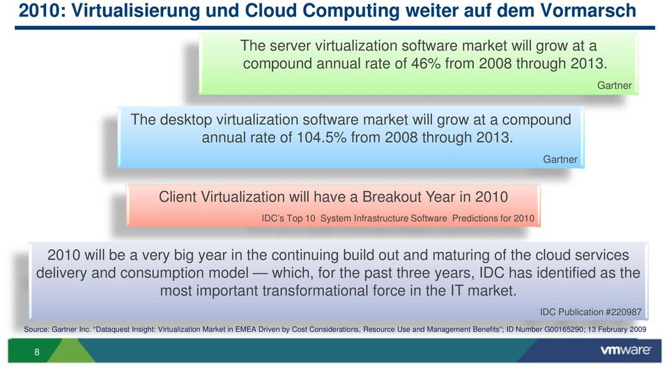 Gartner Client Virtualization will have a Breakout Year in 2010 IDC s Top 10 System Infrastructure Software Predictions for 2010 2010 will be a very big year in the continuing build out and maturing