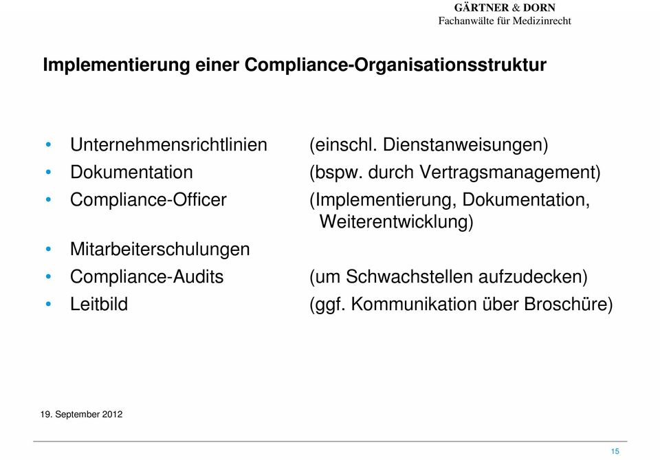 durch Vertragsmanagement) Compliance-Officer (Implementierung, Dokumentation,