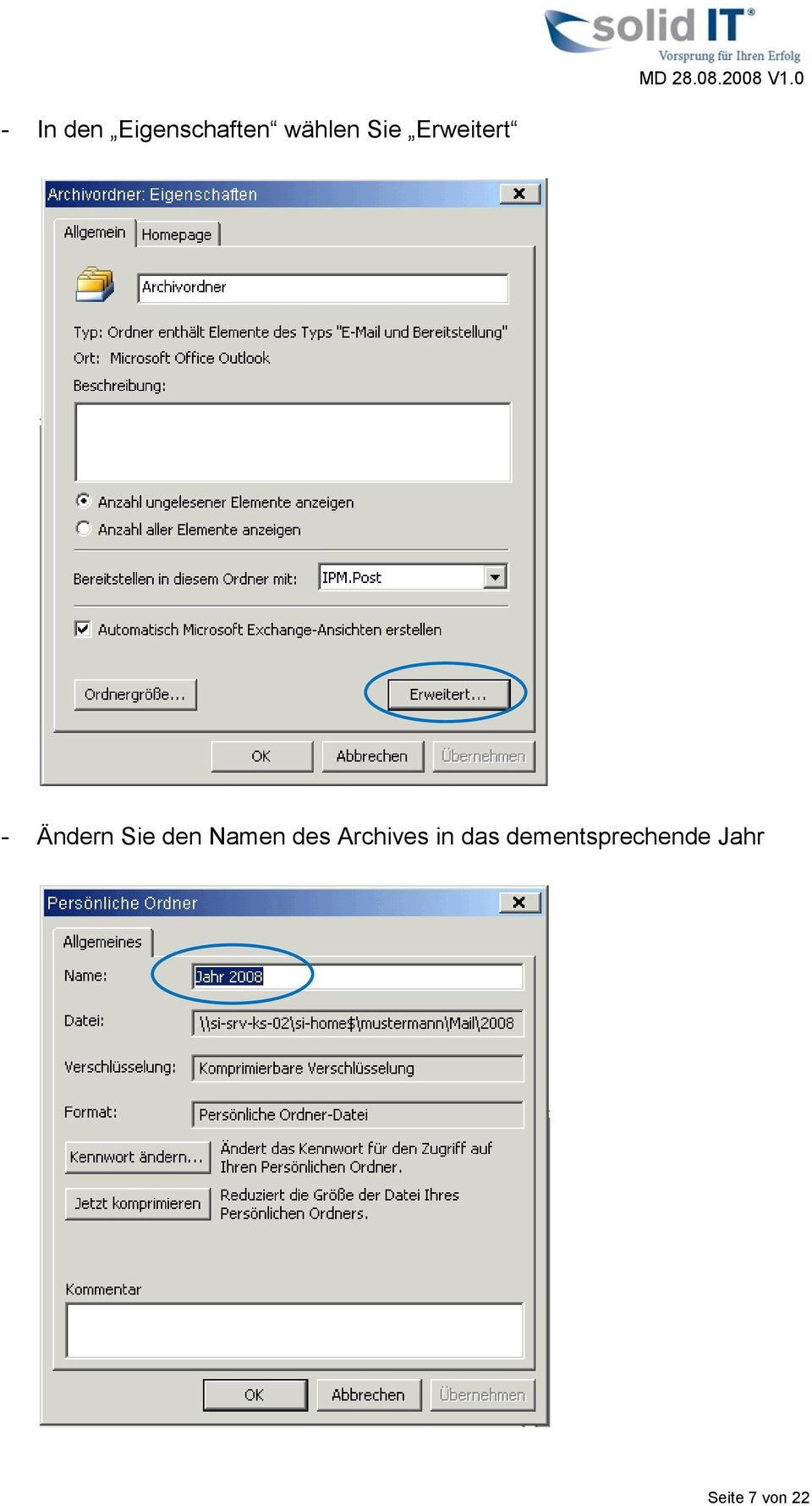 Namen des Archives in das