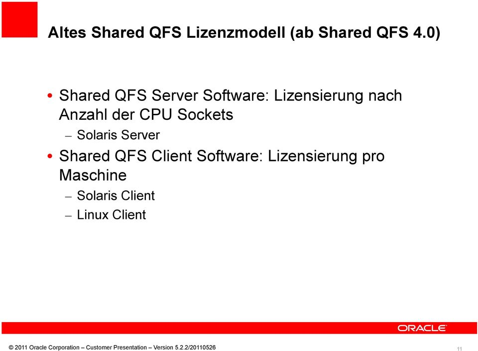 Anzahl der CPU Sockets Solaris Server Shared QFS
