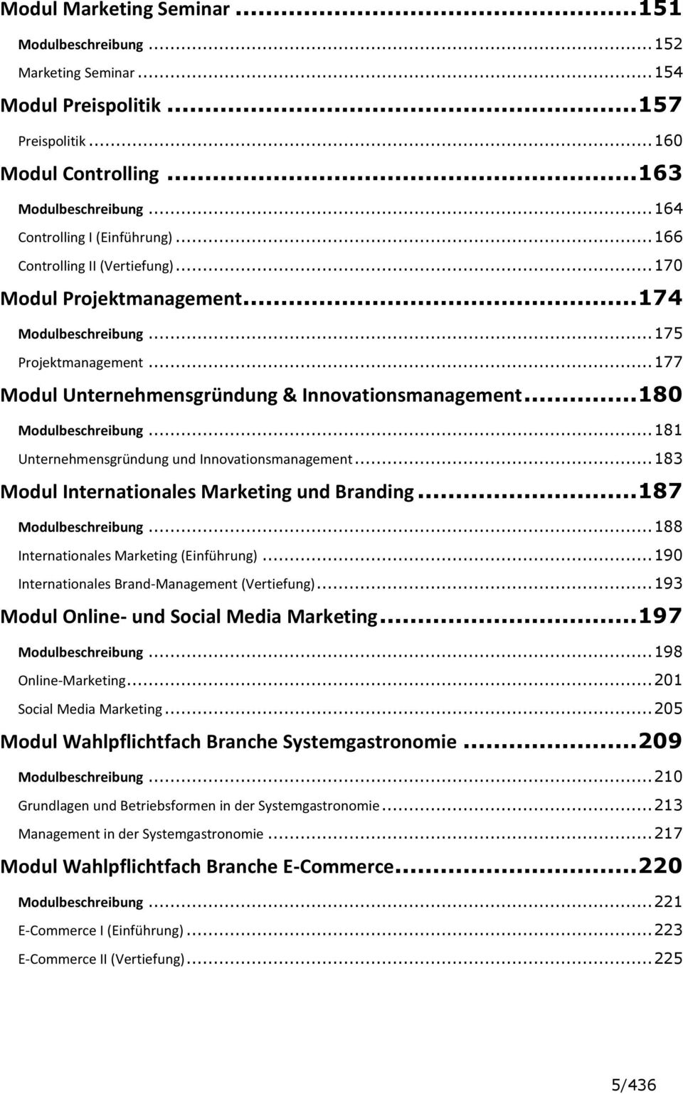 .. 177 Modul Unternehmensgründung & Innovationsmanagement... 180 Modulbeschreibung... 181 Unternehmensgründung und Innovationsmanagement... 183 Modul Internationales Marketing und Branding.