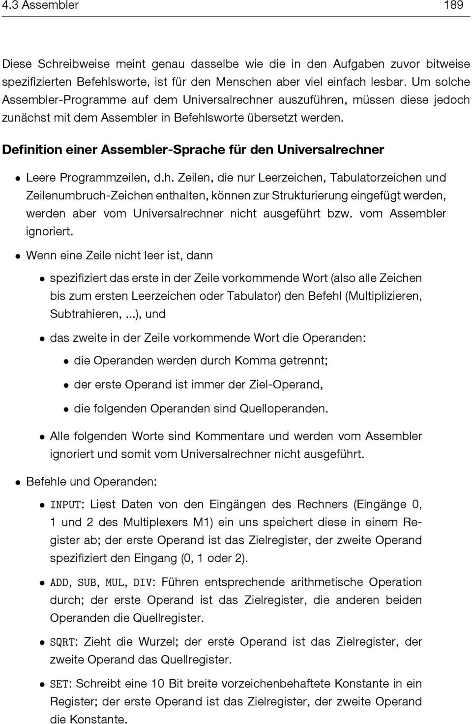 Definition einer Assembler-Sprache