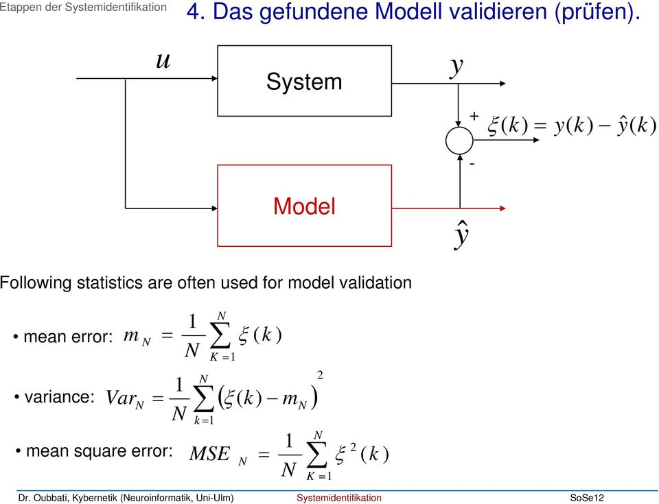 Sstem + ξ = ˆ - Model ŷ Following statistics are often