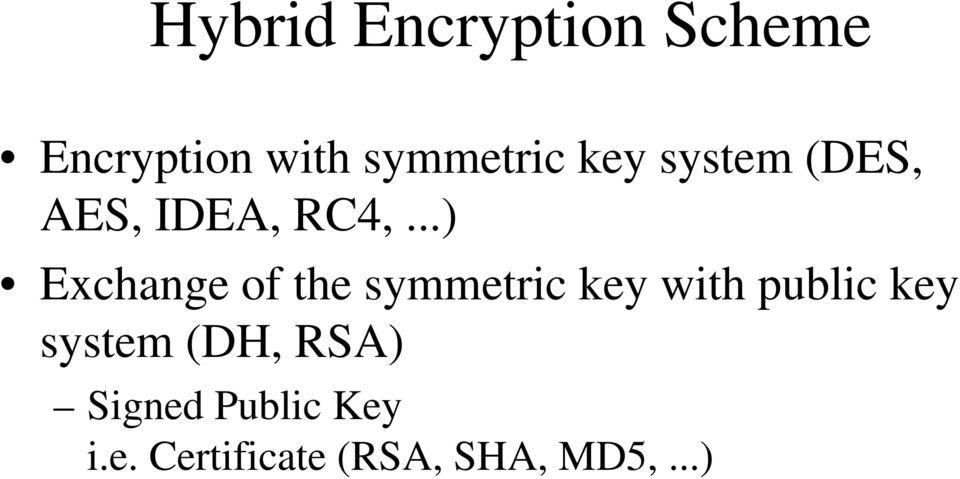 ..) Exchange of the symmetric key with public key