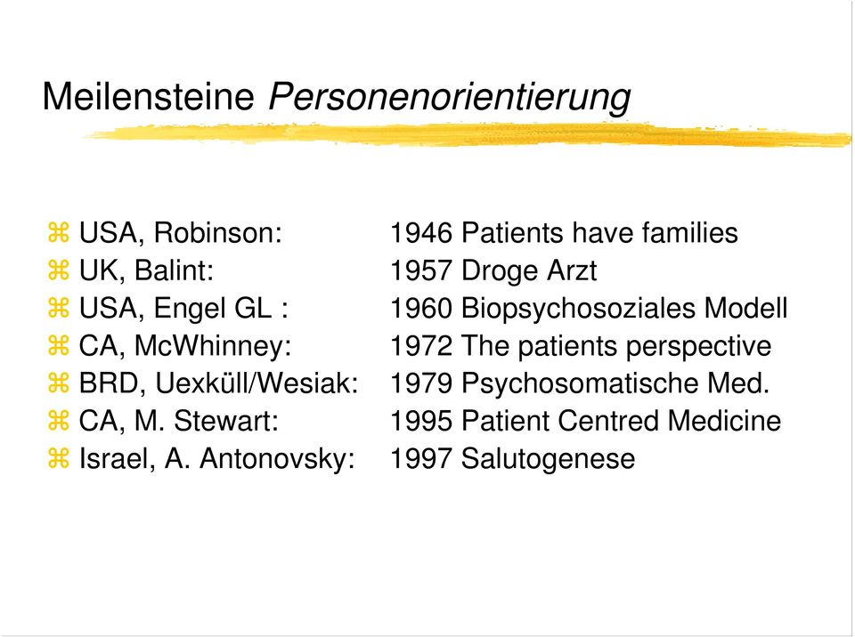 McWhinney: 1972 The patients perspective BRD, Uexküll/Wesiak: 1979