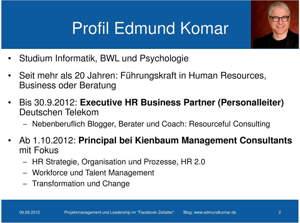 2012: Executive HR Business Partner (Personalleiter) Deutschen Telekom Nebenberuflich Blogger, Berater und Coach: Resourceful Consulting Ab