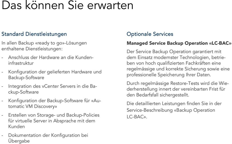 Backup-Policies für virtuelle Server in Absprache mit dem Kunden - Dokumentation der Konfiguration bei Übergabe Optionale Services Managed Service Backup Operation «LC-BAC» Der Service Backup