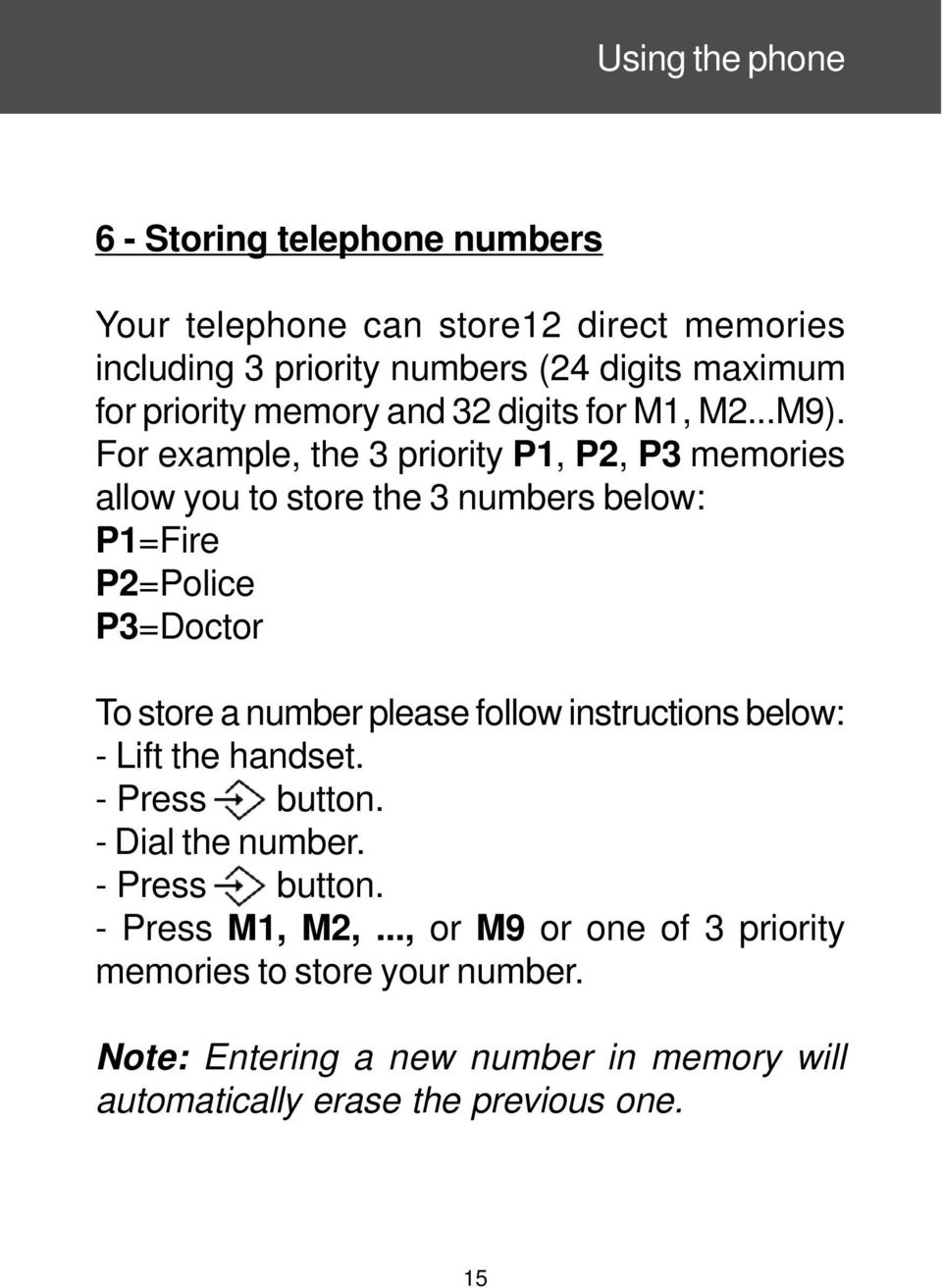 For example, the 3 priority P1, P2, P3 memories allow you to store the 3 numbers below: P1=Fire P2=Police P3=Doctor To store a number please follow