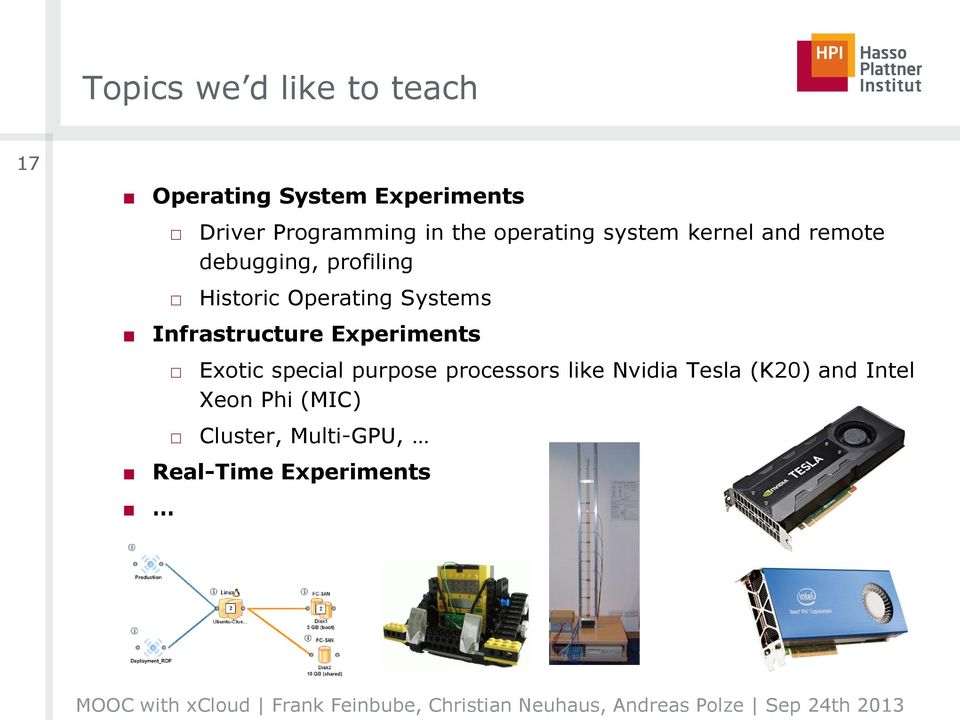 Systems Infrastructure Experiments Exotic special purpose processors like