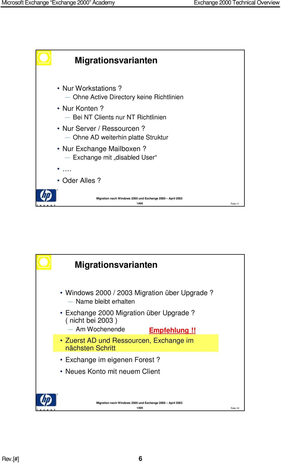 Exchange mit disabled User. Oder Alles? Folie 11 Migrationsvarianten Windows 2000 / 2003 Migration über Upgrade?