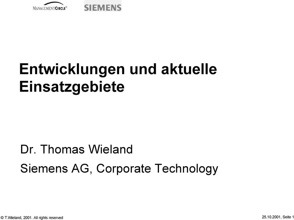 Thomas Wieland Siemens AG, Corporate