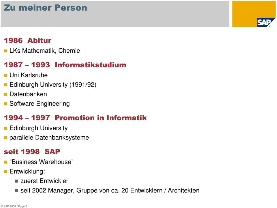 Informatik Edinburgh University parallele Datenbanksysteme seit 1998 SAP Business Warehouse