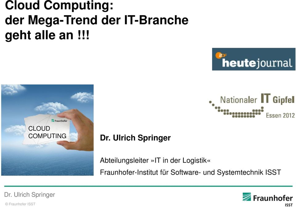 !! CLOUD COMPUTING Abteilungsleiter»IT in