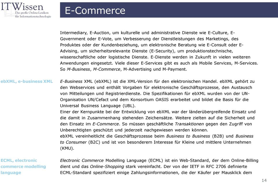 E-Dienste werden in Zukunft in vielen weiteren Anwendungen eingesetzt. Viele dieser E-Services gibt es auch als Mobile Services, M-Services. So M-Business, M-Commerce, M-Advertising und M-Payment.