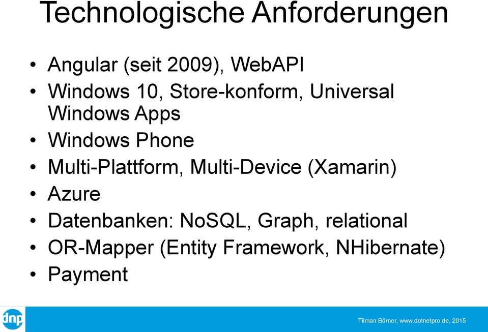 Multi-Plattform, Multi-Device (Xamarin) Azure Datenbanken: