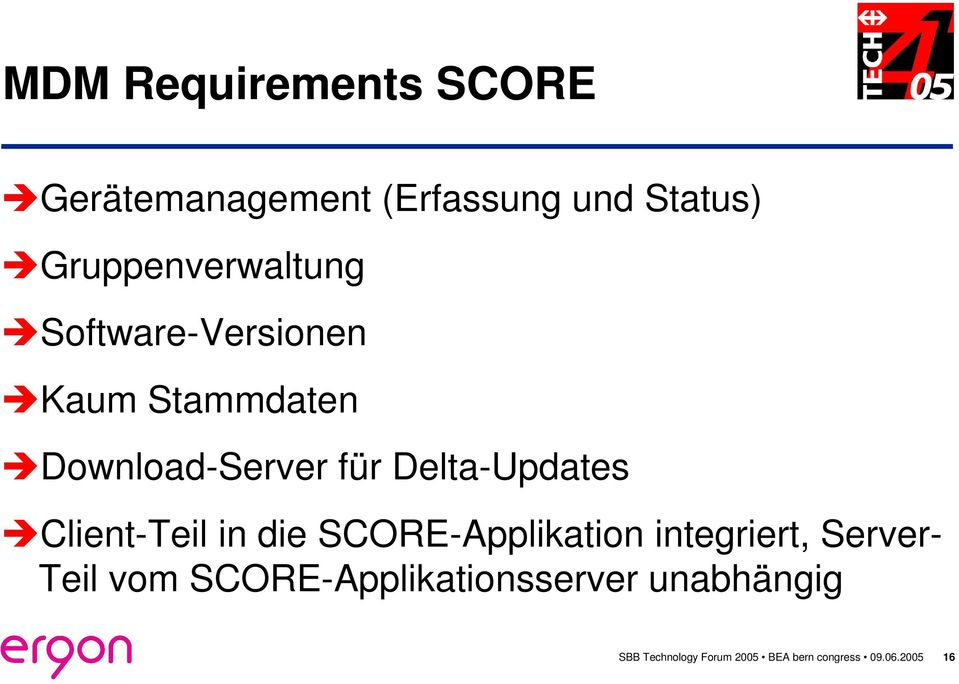 Delta-Updates Client-Teil in die SCORE-Applikation integriert, Server- Teil