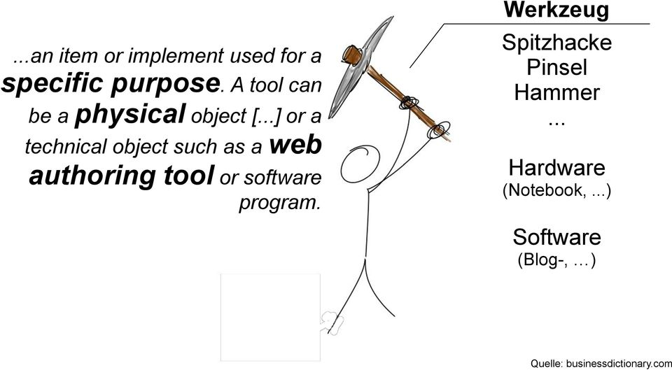 ..] or a technical object such as a web authoring tool or software