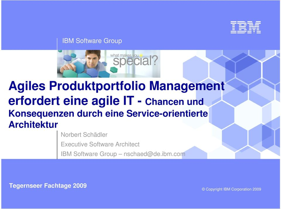 Architektur Norbert Schädler Executive Software Architect IBM Software