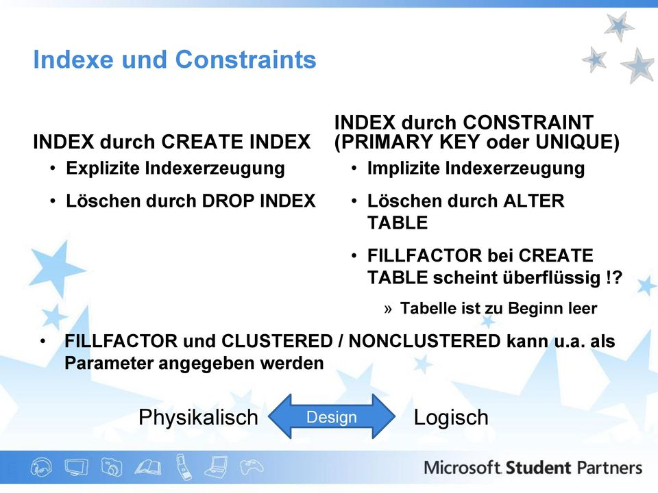 ALTER TABLE FILLFACTOR bei CREATE TABLE scheint überflüssig!