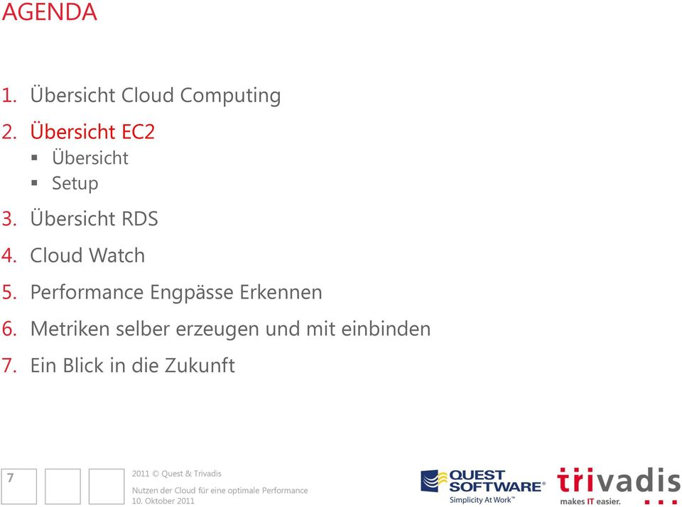 Cloud Watch 5. Performance Engpässe Erkennen 6.