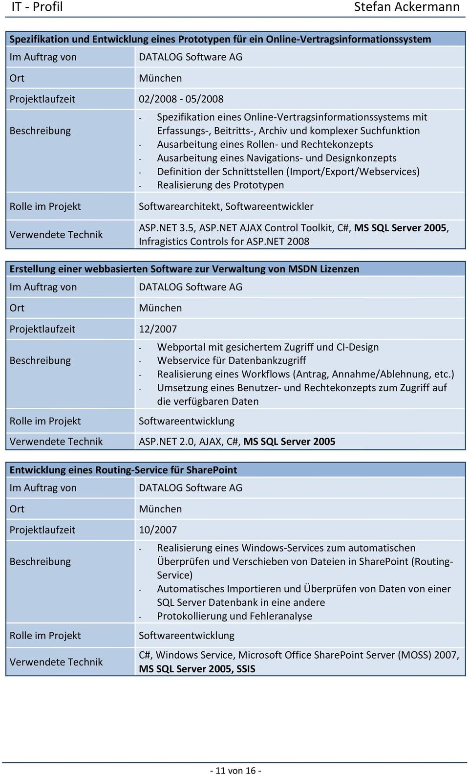 (Import/Export/Webservices) - Realisierung des Prototypen Softwarearchitekt, Softwareentwickler ASP.NET 3.5, ASP.NET AJAX Control Toolkit, C#, MS SQL Server 2005, Infragistics Controls for ASP.