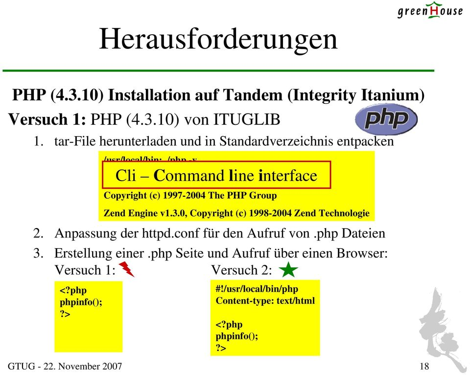 10 (cli) (built: Oct 4 2005 07:56:28) Copyright (c) 1997-2004 The PHP Group Zend Engine v1.3.0, Copyright (c) 1998-2004 Zend Technologie 2.