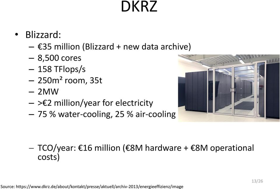 air-cooling TCO/year: 16 million ( 8M hardware + 8M operational costs) Source: