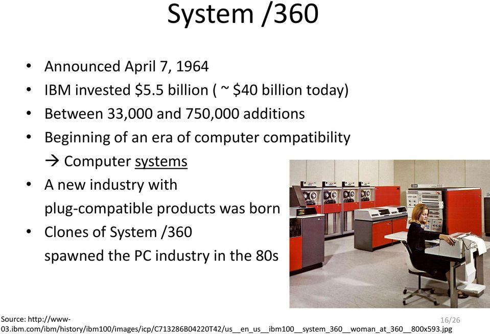 compatibility Computer systems A new industry with plug-compatible products was born Clones of System /360
