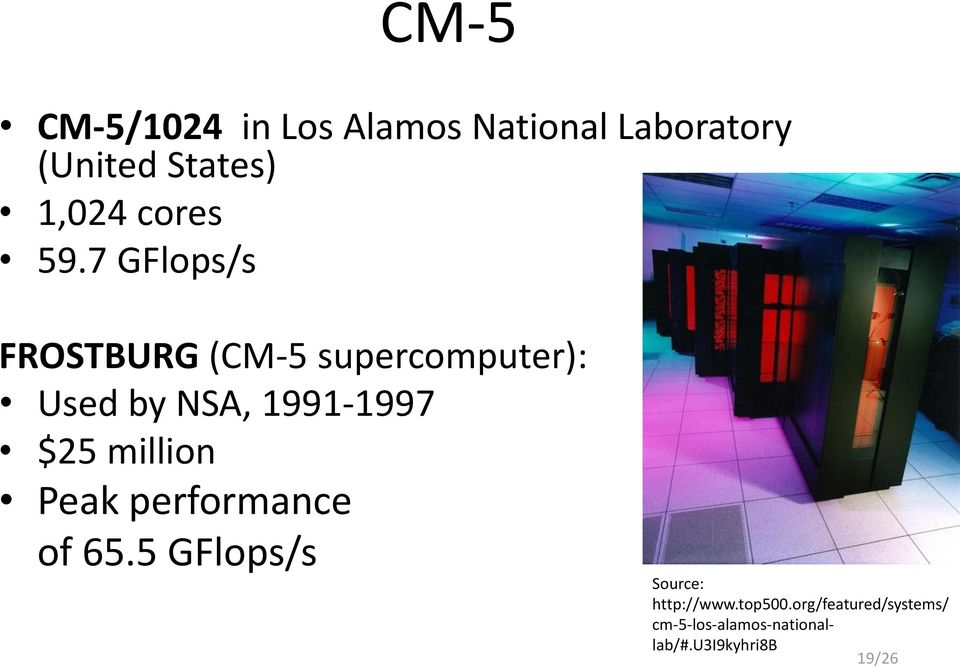7 GFlops/s FROSTBURG (CM-5 supercomputer): Used by NSA, 1991-1997 $25