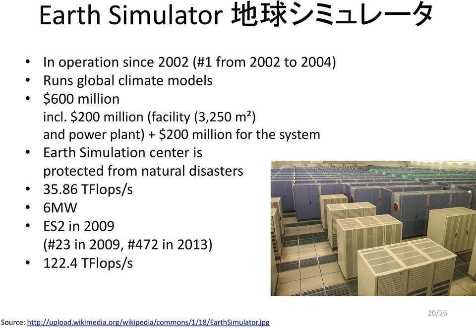 $200 million (facility (3,250 m²) and power plant) + $200 million for the system Earth Simulation center