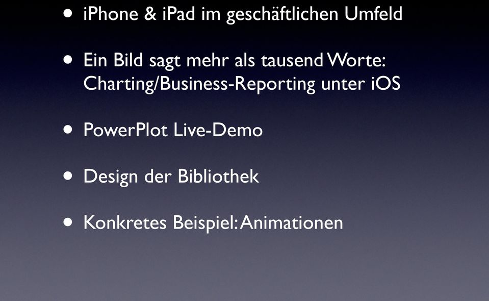 Charting/Business-Reporting unter ios