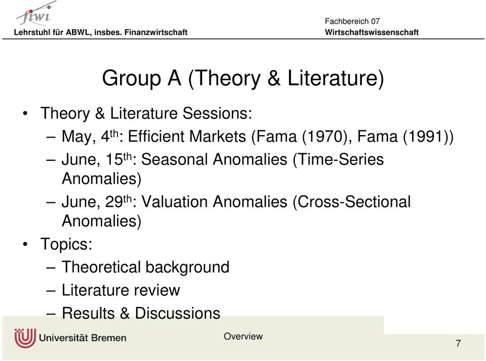 29 th : Valuation Anomalies (Cross-Sectional Anomalies) Topics: Group A