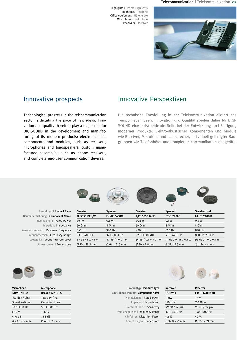 Innovation and quality therefore play a major role for DIGISOUND in the development and manufacturing of its modern products: electro-acoustic components and modules, such as receivers, microphones