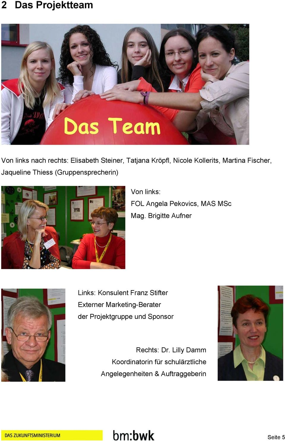 Brigitte Aufner Links: Konsulent Franz Stifter Externer Marketing-Berater der Projektgruppe und