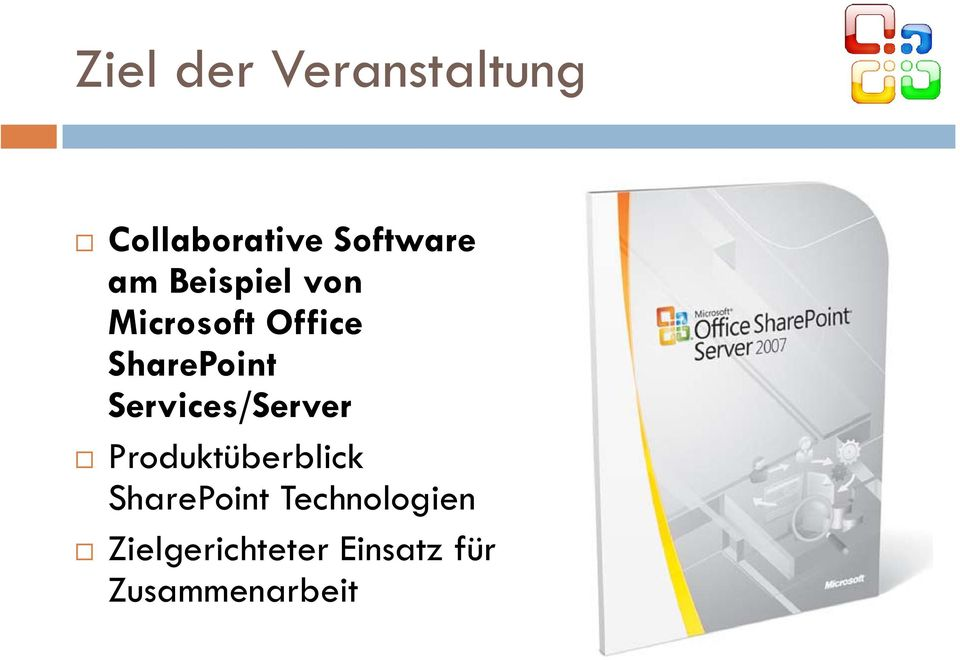 Services/Server Produktüberblick SharePoint