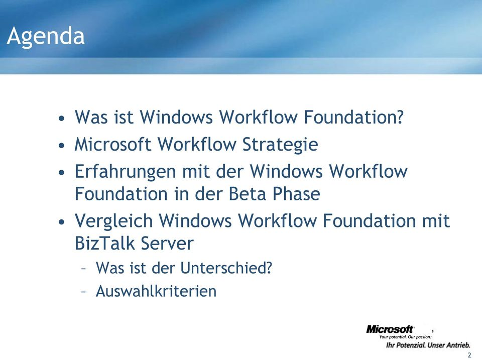 Workflow Foundation in der Beta Phase Vergleich Windows