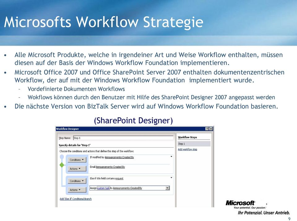Microsoft Office 2007 und Office SharePoint Server 2007 enthalten dokumentenzentrischen Workflow, der auf mit der Windows Workflow Foundation