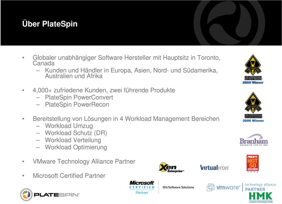PlateSpin PowerConvert PlateSpin PowerRecon Bereitstellung von Lösungen in 4 Workload Management Bereichen Workload