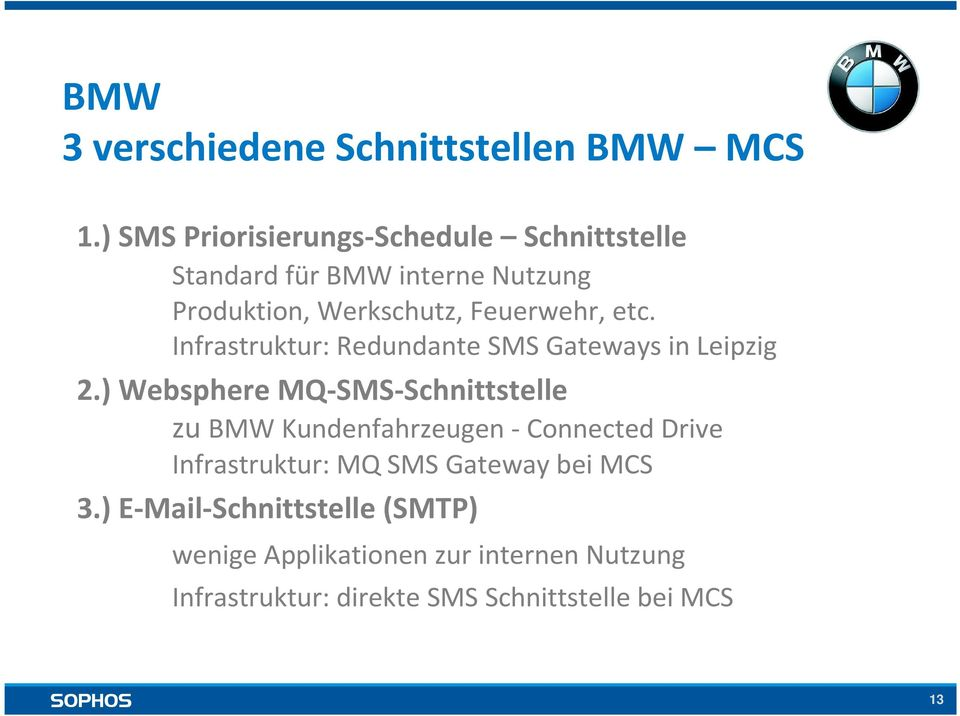 etc. Infrastruktur: Redundante SMS Gateways in Leipzig 2.