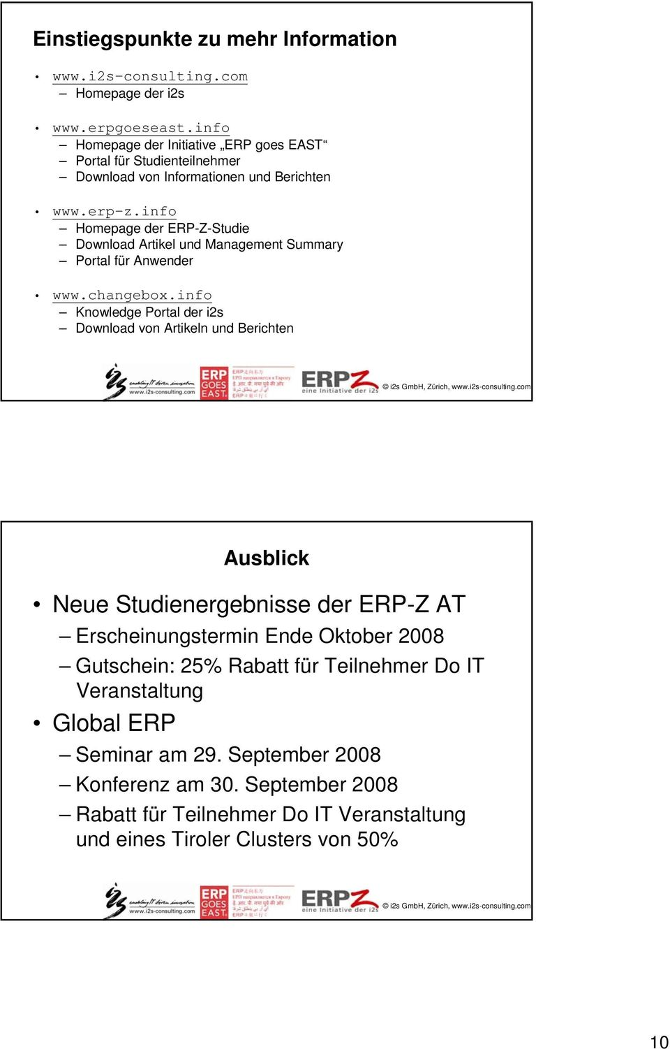 info Homepage der ERP-Z-Studie Download Artikel und Management Summary Portal für Anwender www.changebox.