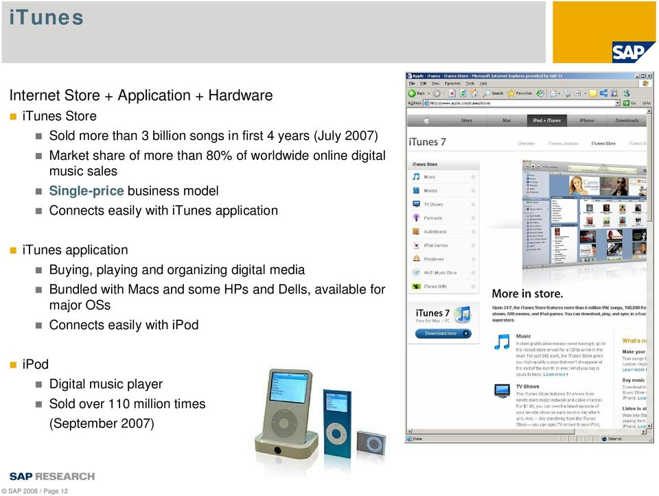 application itunes application Buying, playing and organizing digital media Bundled with Macs and some HPs and Dells,
